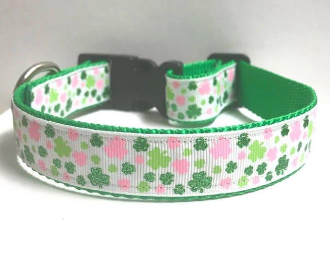 "1"" Pink & Green Mini Clovers Collar"