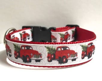 """1"""" Red Truck & Christmas Tree Collar"""
