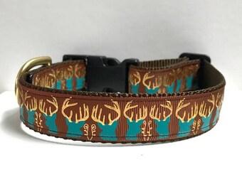 """1"""" Gold Foil Deer on Brown Dog collar"""