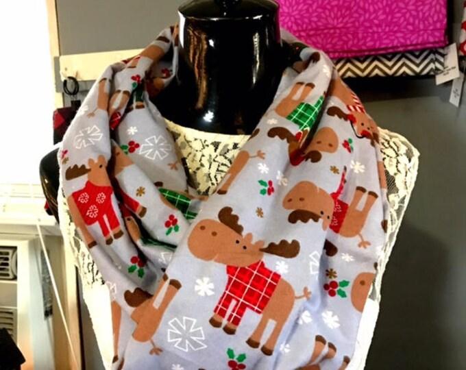 Christmas Moose Infinity Scarf