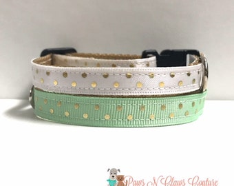 """3/8"""" Gold dots on white or mint collar"""