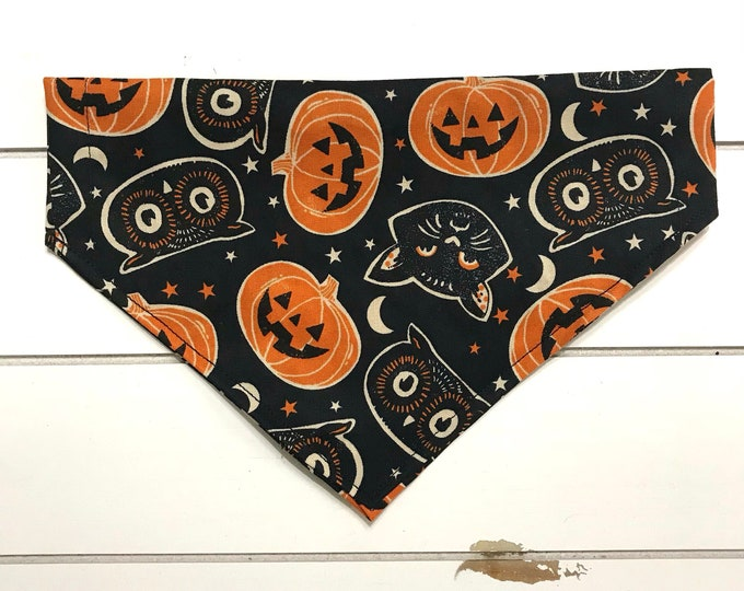 Halloween Pumpkins, cats and owls bandana