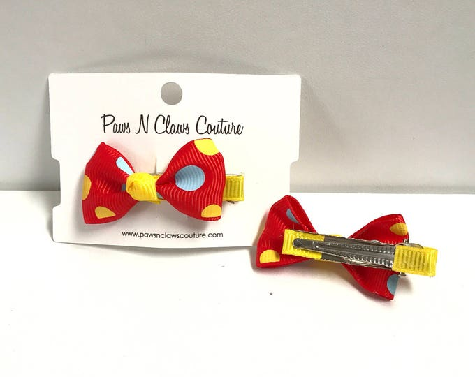 Red & yellow with dots hair clip