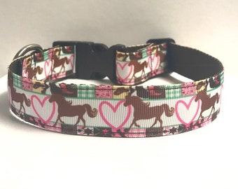"1"" Hearts and Horses Dog collar"