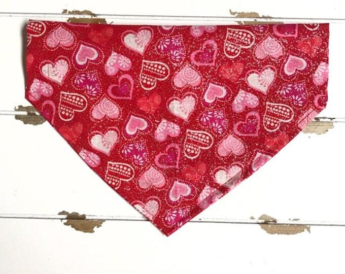 Glitter Hearts on Red Bandana