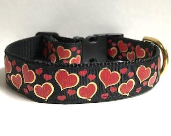 """1"""" Gold foil hearts Dog collar"""