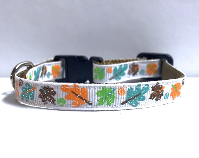 """3/8"""" Fall leaves in color collar"""