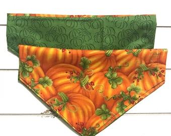 Reversible Orange and Green Pumpkins Bandana
