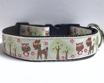 """1"""" fall owl & deer Dog collar, Leash Available"""