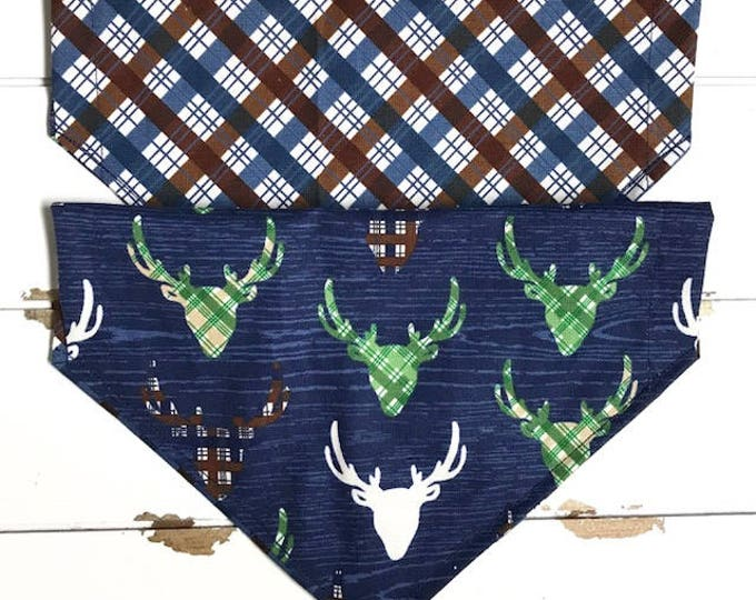 Reversible Deer Head on Navy and Plaid Bandana