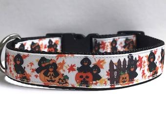 "1"" Crows and Jack O Lanterns Dog collar"
