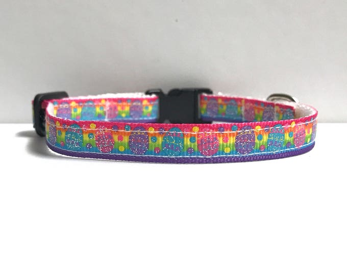 """3/8"""" Rainbow Easter eggs collar"""