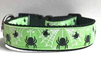 "1"" Glitter webs and spiders Dog collar"