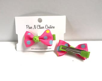 Pink & Green with dots hair clip