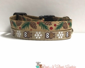 """3/8"""" Owl and Snowflakes or Pinecones Collar"""