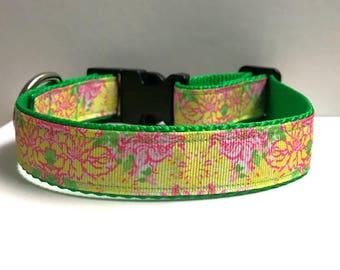 """1"""" Yellow & pink floral Lilly inspired Dog collar"""