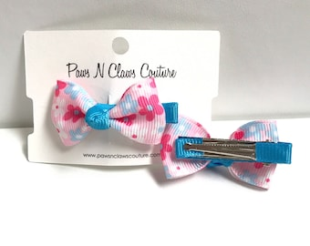 Light Pink & Blue floral hair clip