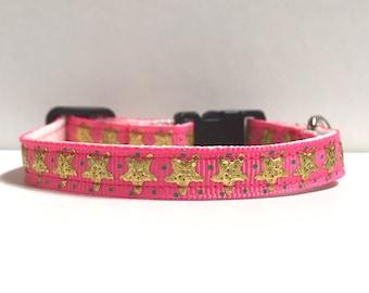 "3/8"" Pink & Gold foil starfish collar"