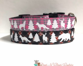"5/8"" Pink or Black Glitter Animal Plaid Dog Collar"