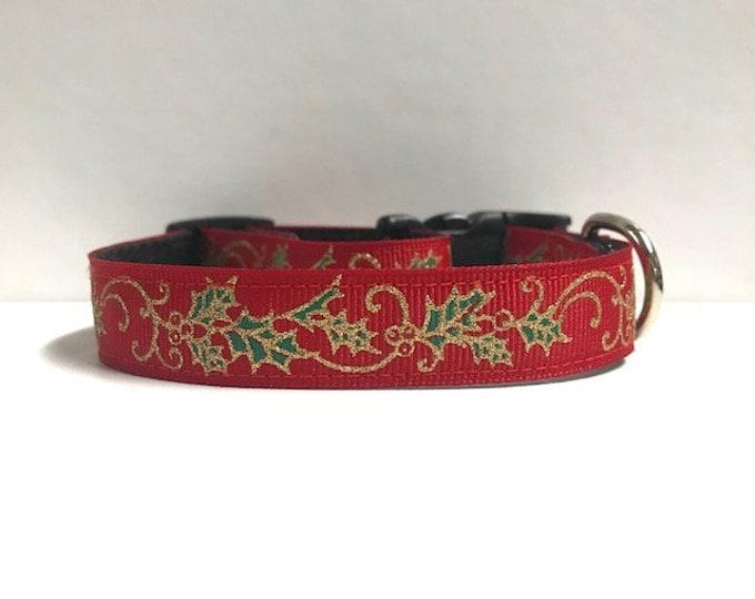 """5/8"""" Glitter Holly Dog Collar"""
