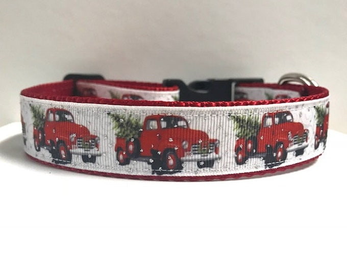 """1"""" Red Truck & Christmas Tree with glitter Dog Collar"""