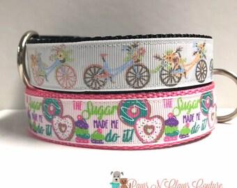 """1"""" Bike ride or Sugar made me do it Dog Collar"""