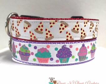 """1"""" Pastel Cupcakes or Pizza Slices Dog Collar"""