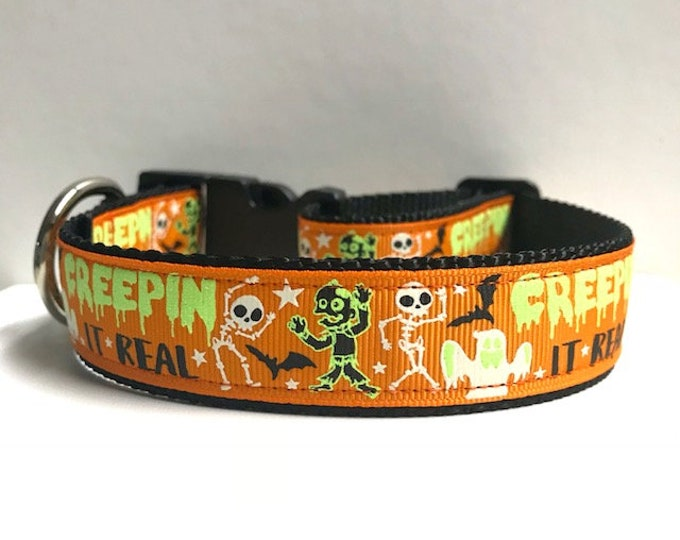 "1"" Creepin it real Collar, Leash Available"