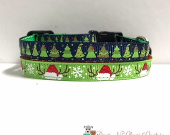 "3/8"" Christmas Trees on Navy or Antlers in Santa Hat Collar"