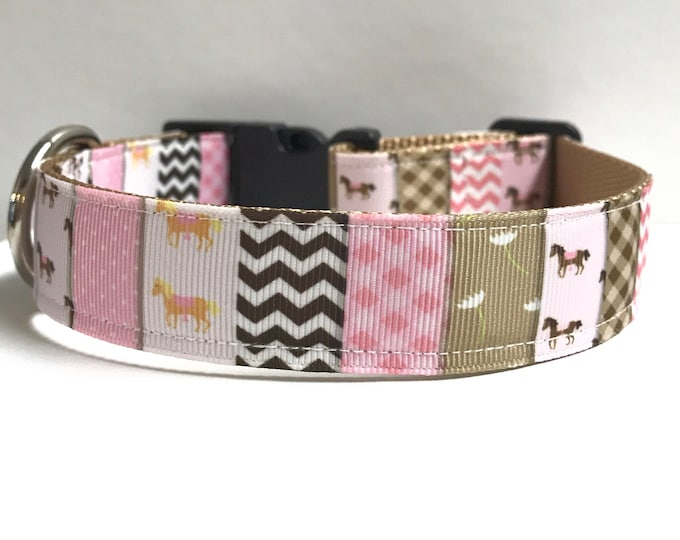 """1"""" horse patchwork  Dog collar, Leash Available"""