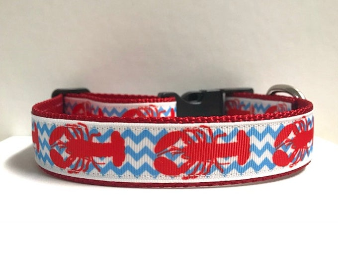 "1"" Lobsters on Blue Chevron Collar"