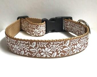 """1"""" Tan & Floral Dog collar"""