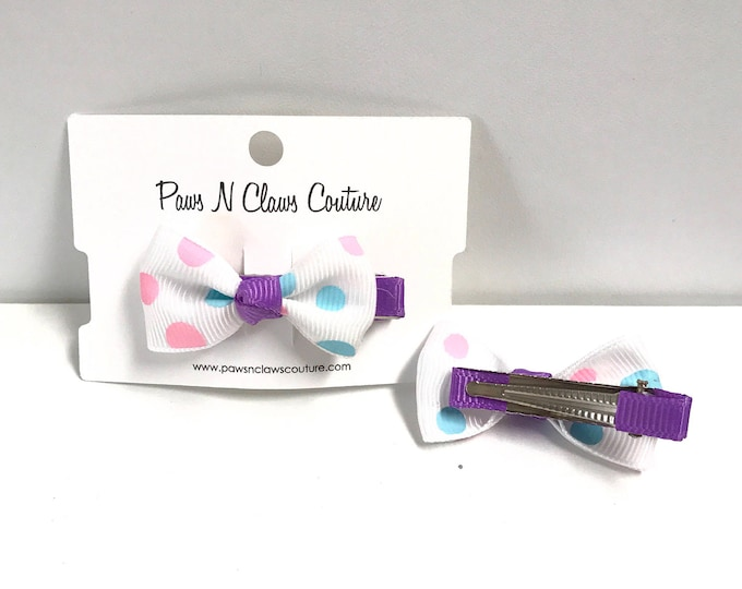 White & Purple with dots hair clip
