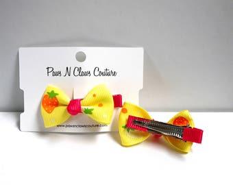 Yellow & Fuscia fruit hair clip