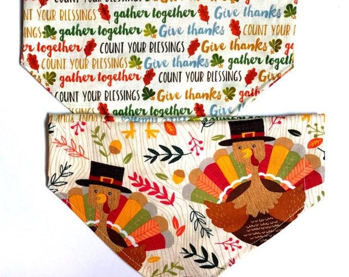 Reversible Turkeys and Thanksgiving Quotes Bandana