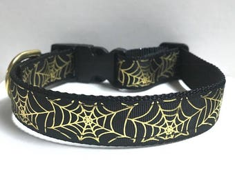 """1"""" Gold Foil Spider Webs Collar"""