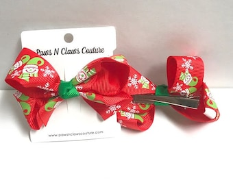Snowflakes & Snowman on Red Hair bow clip