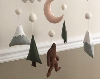 Bigfoot Mountain Tree Cloud Felt Baby Mobile