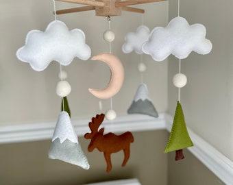 Moose Mountain Tree Moon Cloud Felt Baby Mobile