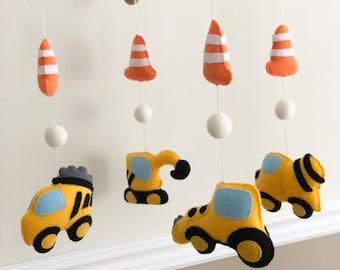 Construction Trucks Traffic Cone Felt Baby Mobile