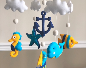 Nautical Fish Starfish Seahorse Clouds Whale Sailboat and Anchor Felt Baby Mobile