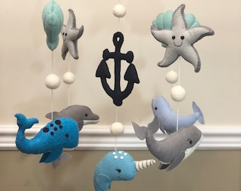 Nautical Ocean Animals Narwhal Beluga Dolphin Whale and Anchor Felt Baby Mobile