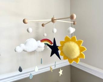 Sun Moon Cloud Rainbow Star Felt Baby Mobile