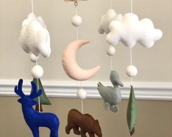 Deer Bear Duck Clouds Tree Moon Animals Felt Baby Mobile