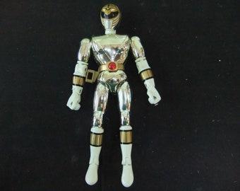 "Vintage Mighty Morphin Power Rangers  Chrome White (Silver) Ranger Bandai 8"" Figure Complete 1993 - Rare"
