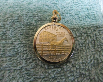 Coin Bezel Pendant W/ 18k GP Chain Kentucky Statehood Quarter Jewelry - Gold and Silver Necklace Pendant