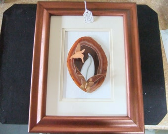 Handcrafted Agate - Hummingbird - Butterfly Agate Wall Deco Hanging - Agate, Stained Glass & Copper Accents