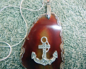 Pendant Handcrafted Coastal Theme Pendant with 925 Silver Plated Chain - Copper Agate Stone with Rhinestone Anchor