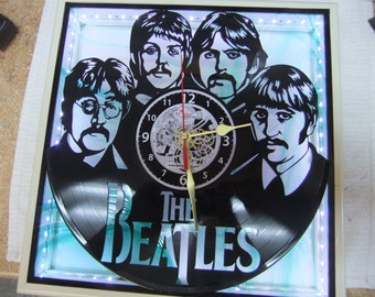 """Handcrafted Beatles Clock - 12"""" LP Silhouette - LED Lighted Green Stained Glass Face - Created in New Bern NC"""