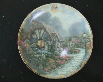 Thomas Kinkade Limited Edition Plate - July- Chandler's Cottage